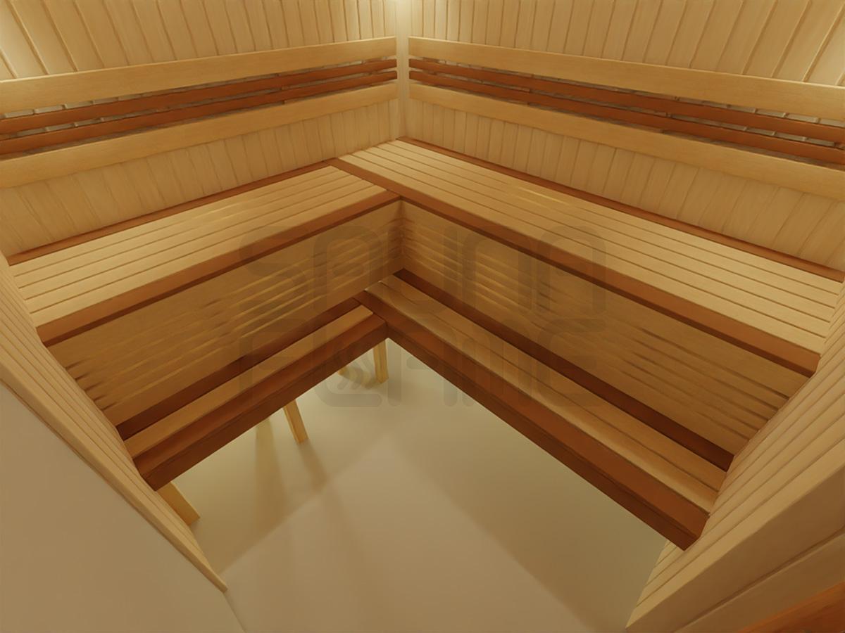 Задвижной полок в сауне