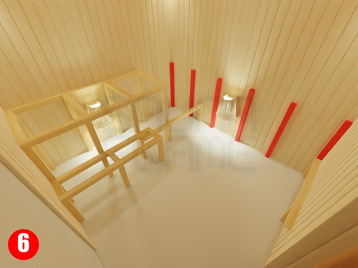 Установка стеновых стоек для верхней полки над выдвижной в сауне